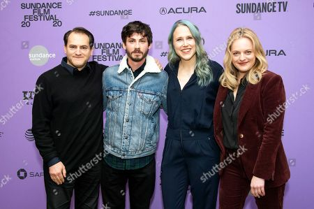 "Stock Photo of Michael Stuhlbarg, Logan Lerman, Josephine Decker, Elisabeth Moss. From left, actors Michael Stuhlbarg and Logan Lerman, director Josephine Decker and actress/producer Elisabeth Moss attend the premiere of ""Shirley"" at the Eccles Theatre during the 2020 Sundance Film Festival, in Park City, Utah"