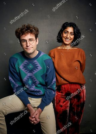 """John Reynolds, Sunita Mani. John Reynolds, left, and Sunita Mani pose for a portrait to promote the film """"Save Yourselves!"""" at the Music Lodge during the Sundance Film Festival, in Park City, Utah"""