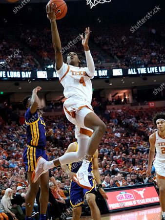 Donovan Williams #4 of the Texas Longhorns in action vs the LSU Tigers at the Frank Erwin Center in Austin Texas. LSU leads 42-32 at the half