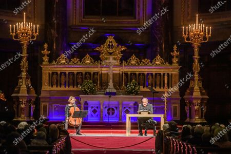 Austrian actor and director Klaus Maria Brandauer (R) sits next to German cellist Maria Magdalena Wiesmaier (L) as he reads Dietrich Bonhoeffer texts at the Berlin cathedral in Berlin, Germany, 25 January 2020. On the occasion of the Holocaust remembrance weekend, Austrian actor Klaus Maria Brandauer read texts by Lutheran theologian Dietrich Bonhoeffer, who died in 1945 in the concentration camp Flossenbuerg, mudered by the Nazis. Under the theme 'I want to learn to believe', Brandauer presented Bonhoeffer's texts with musical accompaniment by German cellist Maria Magdalena Wiesmaier.