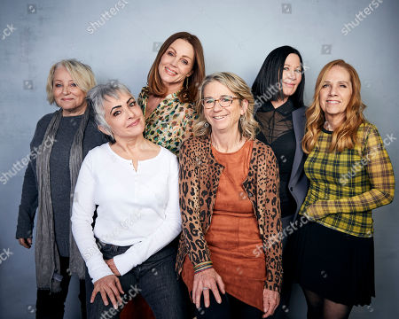 "Stock Photo of Gina Schock, Belinda Carlisle, Kathy Valentine, Charlotte Caffey, Jane Wiedlin, Alison Ellwood. Gina Schock, from back left, Belinda Carlisle, Kathy Valentine, Charlotte Caffey, Jane Wiedlin, and from bottom left director Alison Ellwood pose for a portrait to promote the film ""The Go-Go's"" at the Music Lodge during the Sundance Film Festival, in Park City, Utah"