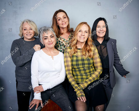 "Gina Schock, Belinda Carlisle, Kathy Valentine, Charlotte Caffey, Jane Wiedlin. Gina Schock, from left, Jane Wiedlin, Belinda Carlisle, Charlotte Caffey and Kathy Valentine pose for a portrait to promote the film ""The Go-Go's"" at the Music Lodge during the Sundance Film Festival, in Park City, Utah"