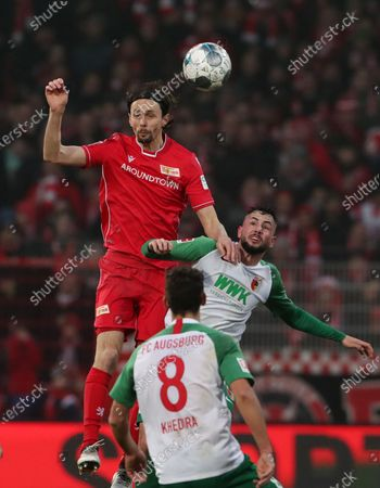 Neven Subotic, Marco Richter /   /    /        / Sport / Football / DFL Bundesliga  /  2019/2020 / 25.01.2020 / 1.FC Union Berlin FCU vs. FC Augsburg FCA / DFL regulations prohibit any use of photographs as image sequences and/or quasi-video. /