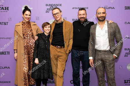 """Stock Photo of Britt Rentschler, Sophia Lillis, Paul Bettany, Alan Ball, Peter Macdissi. From left, actors Britt Rentschler, Sophia Lillis and Paul Bettany, director/writer/producer Alan Ball, and actor/producer Peter Macdissi attend the premiere of """"Uncle Frank"""" at the Eccles Theatre during the 2020 Sundance Film Festival, in Park City, Utah"""