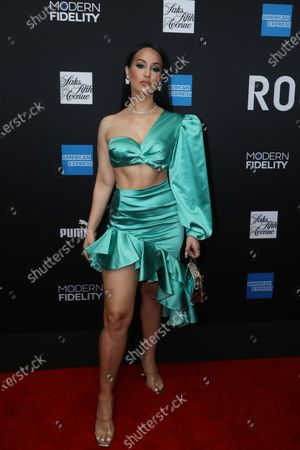 Mexican musical artist Victoria La Mala poses on the red carpet at the ROC NATION's  'The Brunch' at UCLA in Los Angeles, California, USA, 25 January 2020.