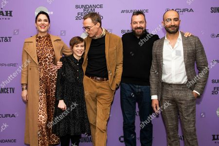 """Britt Rentschler, Sophia Lillis, Paul Bettany, Alan Ball, Peter Macdissi. From left, actors Britt Rentschler, Sophia Lillis and Paul Bettany, director/writer/producer Alan Ball, and actor/producer Peter Macdissi attend the premiere of """"Uncle Frank"""" at the Eccles Theatre during the 2020 Sundance Film Festival, in Park City, Utah"""