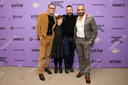 """Paul Bettany, Sophia Lillis, Alan Ball, Peter Macdissi. From left, actors Paul Bettany and Sophia Lillis director/writer/producer Alan Ball, and actor/producer Peter Macdissi attend the premiere of """"Uncle Frank"""" at the Eccles Theatre during the 2020 Sundance Film Festival, in Park City, Utah"""