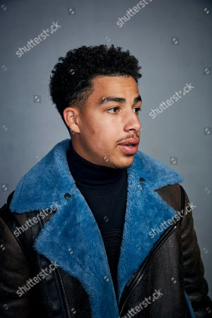 """Stock Image of Marcus Scribner poses for a portrait to promote the film """"Farewell Amor"""" at the Music Lodge during the Sundance Film Festival, in Park City, Utah"""