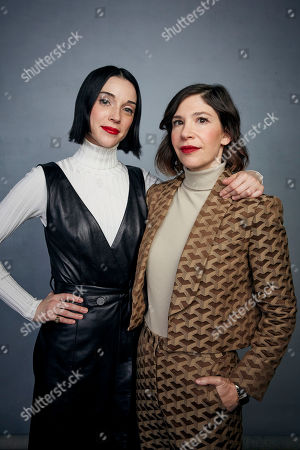 "St Vincent, Carrie Brownstein. St Vincent, left, and Carrie Brownstein pose for a portrait to promote the film ""The Nowhere Inn"" at the Music Lodge during the Sundance Film Festival, in Park City, Utah"