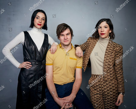 "St Vincent, Bill Benz, Carrie Brownstein. St Vincent, from left, director Bill Benz, and Carrie Brownstein pose for a portrait to promote the film ""The Nowhere Inn"" at the Music Lodge during the Sundance Film Festival, in Park City, Utah"