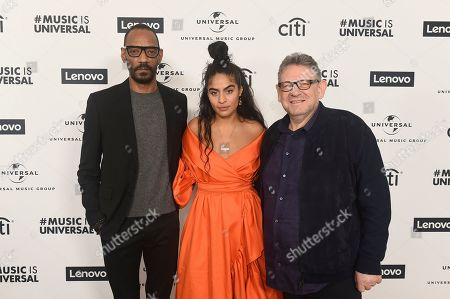 Darcus Beese, Jessie Reyez, Sir Lucian Grainge. Darcus Beese Island Records President and CEO, Jessie Reyez and Sir Lucian Grainge UMG CEO attend Sir Lucian Grainge's 2020 Artist Showcase Presented By Citi and Lenovo on in Los Angeles