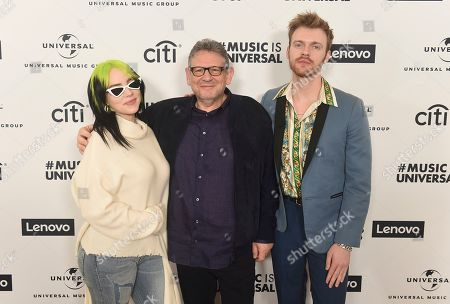 Billie Eilish, Finneas O'Connell, Sir Lucian Grainge. Billie Eilish, Sir Lucian Grainge and Finneas O'Connell attend Sir Lucian Grainge's 2020 Artist Showcase Presented By Citi and Lenovo on in Los Angeles