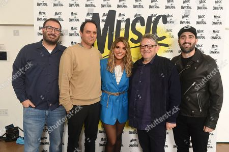 Stock Image of John Janick, Lele Pons, Sir Lucian Grainge. John Janick, Lele Pons and Sir Lucian Grainge attend Sir Lucian Grainge's 2020 Artist Showcase Presented By Citi and Lenovo on in Los Angeles