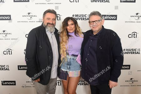 Jesus Lopez, Karol G, Monte Lipman, Sir Lucian Grainge. Jesus Lopez, Karol G, Monte Lipman and Sir Lucian Grainge attend Sir Lucian Grainge's 2020 Artist Showcase Presented By Citi and Lenovo on in Los Angeles
