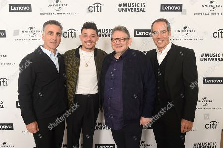 Stock Picture of Avery Lipman, Anthony Ramos, Sir Lucian Grainge, Monte Lipman. Avery Lipman, Anthony Ramos, Sir Lucian Grainge and Monte Lipman attend Sir Lucian Grainge's 2020 Artist Showcase Presented By Citi and Lenovo on in Los Angeles