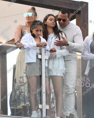 Stock Photo of Jennifer Lopez, Emme Maribel Muniz, Natasha Rodriquez and Alex Rodriguez