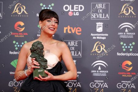 Belen Cuesta receives the award to 'Best main actress' for her work in 'La trinchera infinita' (The Infinite Trench) during the 34th Goya Awards ceremony held at the Jose Maria Martin Carpena Sports Palace in Malaga, Spain, 25 January 2020. The awards are presented by the Spanish Film Academy.