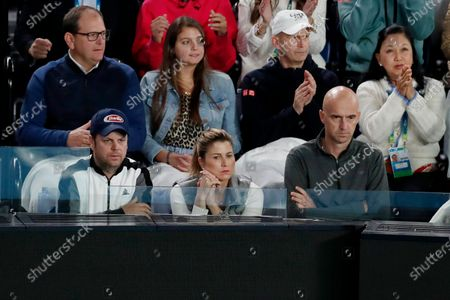 Mirka Federer watches her husband Roger Federer of Switzerland in action during his men's singles fourth round match against Marton Fucsovics of Hungary at the Australian Open Grand Slam tennis tournament in Melbourne, Australia, 26 January 2020.