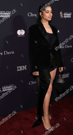 Ella Mai arrives at the Pre-Grammy Gala And Salute To Industry Icons at the Beverly Hilton Hotel, in Beverly Hills, Calif