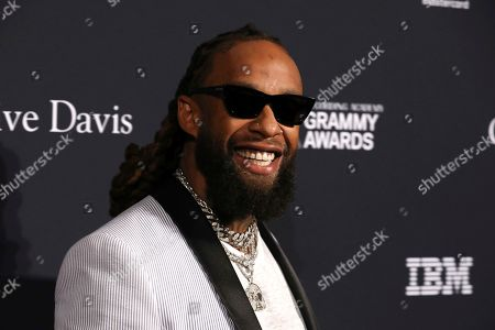 Ty Dolla Sign arrives at the Pre-Grammy Gala And Salute To Industry Icons at the Beverly Hilton Hotel, in Beverly Hills, Calif