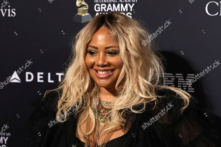 Lalah Hathaway arrives at the Pre-Grammy Gala And Salute To Industry Icons at the Beverly Hilton Hotel, in Beverly Hills, Calif