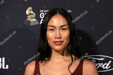 Stephanie Shepherd arrives at the Pre-Grammy Gala And Salute To Industry Icons at the Beverly Hilton Hotel, in Beverly Hills, Calif