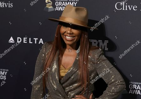 Stock Image of Mona Scott-Young arrives at the Pre-Grammy Gala And Salute To Industry Icons at the Beverly Hilton Hotel, in Beverly Hills, Calif