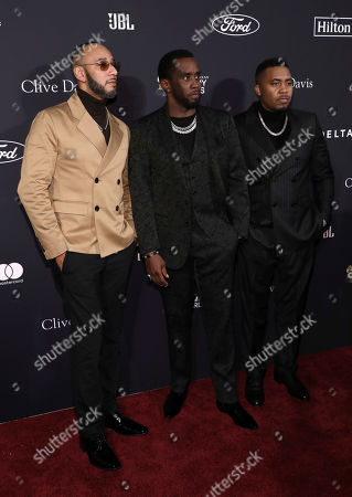 Stock Picture of Swizz Beats, Sean Combs, Nas. Swizz Beats, from left, Sean Combs, and Nas arrive at the Pre-Grammy Gala And Salute To Industry Icons at the Beverly Hilton Hotel, in Beverly Hills, Calif