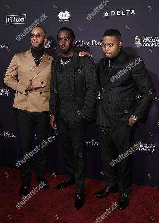 Swizz Beats, Sean Combs, Nas. Swizz Beats, from left, Sean Combs, and Nas arrive at the Pre-Grammy Gala And Salute To Industry Icons at the Beverly Hilton Hotel, in Beverly Hills, Calif