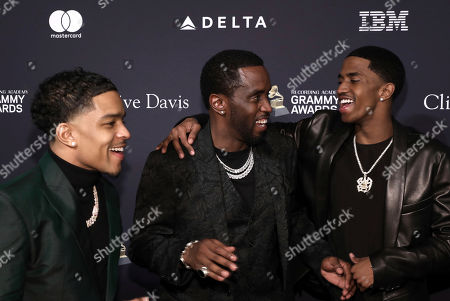Justin Dior Combs, Sean Combs, Christian Casey Combs. Justin Dior Combs, from left, Sean Combs, and Christian Casey Combs arrive at the Pre-Grammy Gala And Salute To Industry Icons at the Beverly Hilton Hotel, in Beverly Hills, Calif