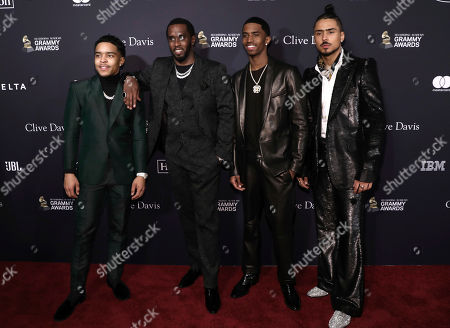Justin Dior Combs, Sean Combs, Christian Casey Combs. Justin Dior Combs, from left, Sean Combs, Christian Casey Combs, and Quincy Taylor Brown arrive at the Pre-Grammy Gala And Salute To Industry Icons at the Beverly Hilton Hotel, in Beverly Hills, Calif