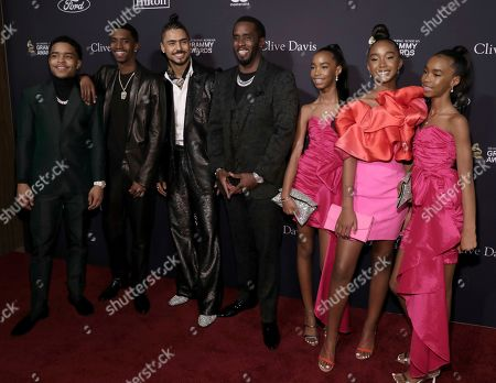 Justin Dior Combs, Christian Casey Combs, Quincy Taylor Brown, Sean Combs, D'Lia Star Combs, Chance Combs, Jessie James Combs. Justin Dior Combs, from left, Christian Casey Combs, Quincy Taylor Brown, Sean Combs, D'Lia Star Combs, Chance Combs, and Jessie James Combs arrive at the Pre-Grammy Gala And Salute To Industry Icons at the Beverly Hilton Hotel, in Beverly Hills, Calif