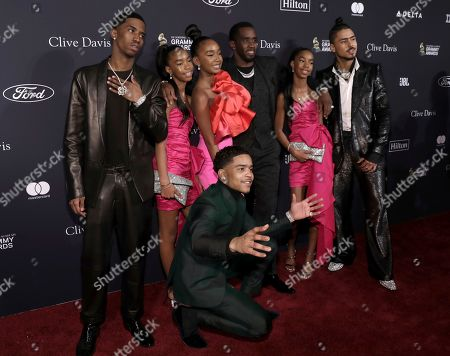 Christian Casey Combs, Justin Dior Combs, D'Lia Star Combs, Chance Combs, Sean Combs, Jessie James Combs, Quincy Taylor Brown. Christian Casey Combs, from left, Justin Dior Combs, D'Lia Star Combs, Chance Combs, Sean Combs, Jessie James Combs, and Quincy Taylor Brown arrive at the Pre-Grammy Gala And Salute To Industry Icons at the Beverly Hilton Hotel, in Beverly Hills, Calif