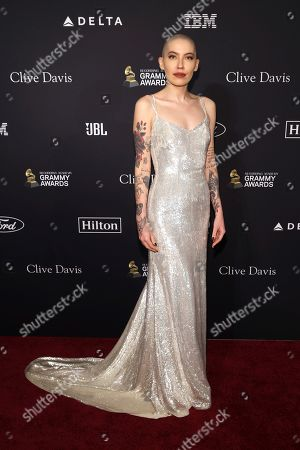 Bishop Briggs arrives at the Pre-Grammy Gala And Salute To Industry Icons at the Beverly Hilton Hotel, in Beverly Hills, Calif