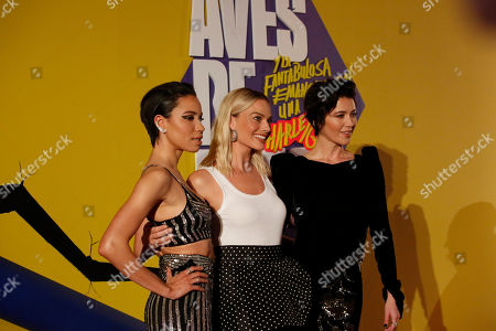 """Actress Jurnee Smollett-Bell, Margot Robbie and Mary Elizabeth Winstead poses during a red carpet event for the film """"Birds of Prey"""" in Mexico City, . Birds of Prey is expected to debut in Mexican theaters on February 7"""