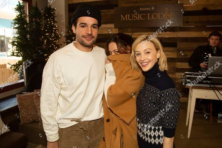Stock Image of Christopher Abbot, Aubrey Plaza, Sarah Gadon. Christopher Abbot, from left, Aubrey Plaza, and Sarah Gadon are seen at the Music Lodge during the Sundance Film Festival, in Park City, Utah