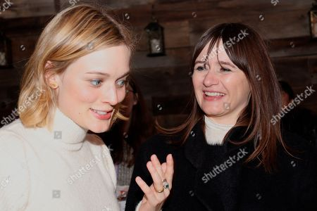 Sarah Gadon (Left) and Emily Mortimer (Right) share a laugh at the Music Lodge during the Sundance Film Festival on Friday, Jan. 24., 2020, in Park City, Utah