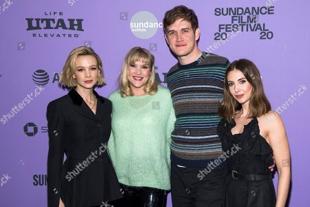 """Carey Mulligan, Emerald Fennell, Alison Brie, Bo Burnham. Carey Mulligan, left, Emerald Fennell, Bo Burnham and Alison Brie attend the premiere of """"Promising Young Woman"""" at the MARC theater during the 2020 Sundance Film Festival, in Park City, Utah"""