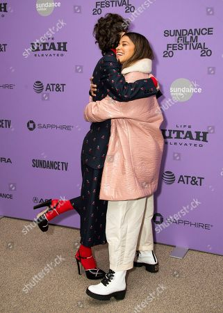 "Miranda July, Gina Rodriguez. Writer/director Miranda July, left, and actress Gina Rodriguez embrace during the premiere of ""Kajillionaire"" at the Eccles Theatre during the 2020 Sundance Film Festival, in Park City, Utah"
