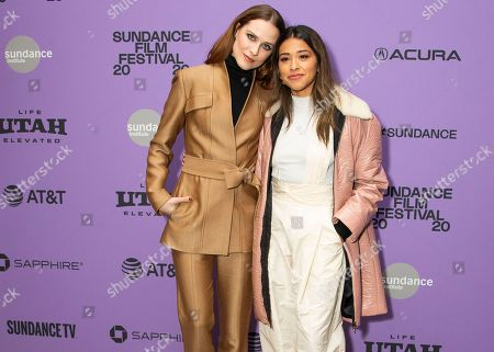 "Evan Rachel Wood, Gina Rodriguez. Actresses Evan Rachel Wood, left, and Gina Rodriguez attend the premiere of ""Kajillionaire"" at the Eccles Theatre during the 2020 Sundance Film Festival, in Park City, Utah"