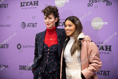 "Miranda July, Gina Rodriguez. Writer/director Miranda July, left, and actress Gina Rodriguez attend the premiere of ""Kajillionaire"" at the Eccles Theatre during the 2020 Sundance Film Festival, in Park City, Utah"