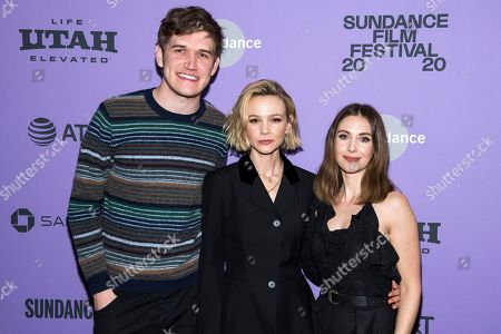 "Bo Burnham, Carey Mulligan, Alison Brie. Bo Burnham, left, Carey Mulligan and Alison Brie attend the premiere of ""Promising Young Woman"" at the MARC theater during the 2020 Sundance Film Festival, in Park City, Utah"