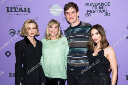 "Carey Mulligan, Emerald Fennell, Bo Burnham, Alison Brie. Carey Mulligan, left, Emerald Fennell, Bo Burnham and Alison Brie attend the premiere of ""Promising Young Woman"" at the MARC theater during the 2020 Sundance Film Festival, in Park City, Utah"