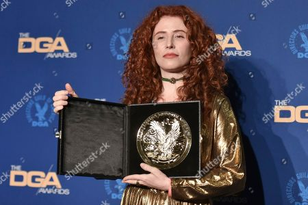 Alma Har'el poses in the press room at the 72nd Annual Directors Guild of America Awards at the Ritz-Carlton Hotel, in Los Angeles