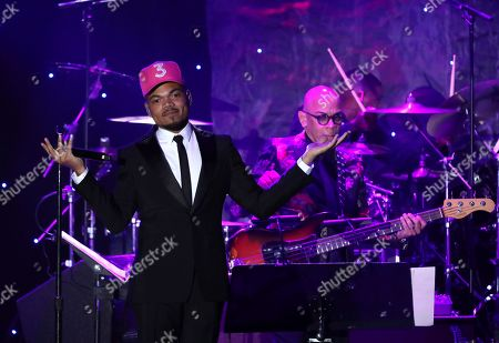 Chance the Rapper on stage at the Pre-Grammy Gala And Salute To Industry Icons at the Beverly Hilton Hotel, in Beverly Hills, Calif