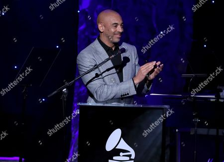 Harvey Mason Jr. on stage at the Pre-Grammy Gala And Salute To Industry Icons at the Beverly Hilton Hotel, in Beverly Hills, Calif