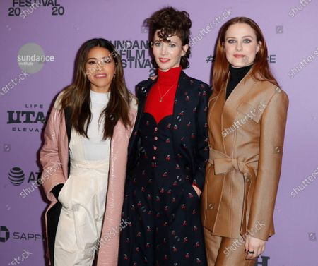 Gina Rodriguez (L), US director Miranda July (C) and US actress Evan Rachel Wood (R) arrive for the premier of the film 'Kajillionaire' at the 2020 Sundance Film Festival in Park City, Utah, USA, 25 January 2020. The festival runs from 22 January to 02 February 2020.