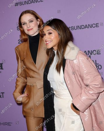 Evan Rachel Wood (L) and US actress Gina Rodriguez (R) arrives for the premier of the film 'Kajillionaire' at the 2020 Sundance Film Festival in Park City, Utah, USA, 25 January 2020. The festival runs from 22 January to 02 February 2020.