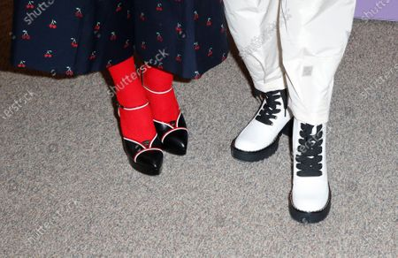 Miranda July (L) and US actress Gina Rodriguez (R) show off their shoes as they arrived for the premier of the film 'Kajillionaire' at the 2020 Sundance Film Festival in Park City, Utah, USA, 25 January 2020. The festival runs from 22 January to 02 February 2020.