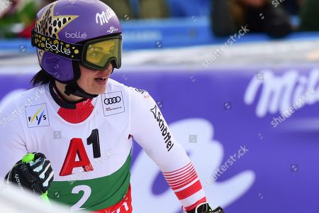 Austria's Anna Veith gets to the finish are after completing an alpine ski, women's World Cup super-G, in Bansko, Bulgaria